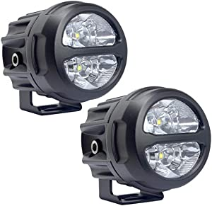 Lightronic 3 Inch Round 20W 2000 Lumens 6000K Super Bright Long-Range Spot Beam Off-Road LED Fog & Headlight for Power Sports 2-Pieces