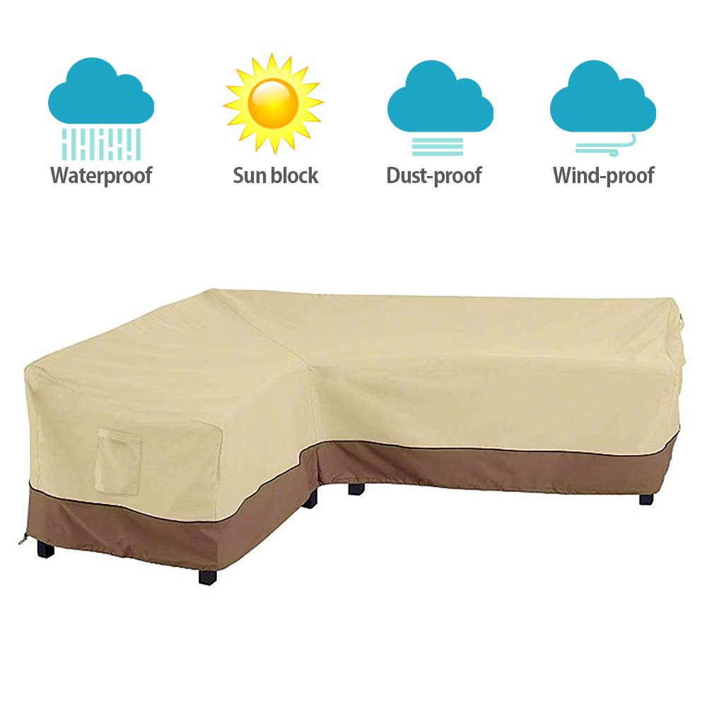 Interlink Patio Sectional Cover L-Shaped Waterproof Outdoor Veranda Furniture Sofa Cover Garden Couch Protector (Leftfacing) by Interlink