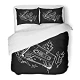 Emvency Bedding Duvet Cover Set Queen (1 Duvet Cover + 2 Pillowcase) Yellow 1990S Audio Cassete Funky Black and White Graffiti Abstract Equipment Dance Hotel Quality Wrinkle and Stain Resistant