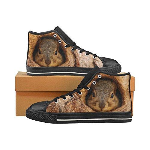 Ardilla De Encargo De D-story En El Agujero Del Árbol Zapatos De Lona Clásicos De Arriba Altos Del Hombre Zapatillas De Deporte De La Moda