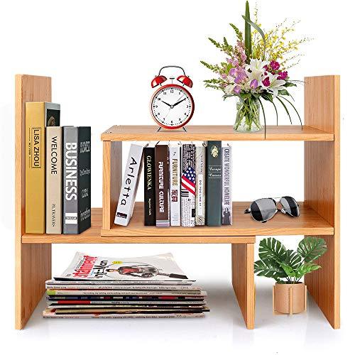 Adjustable Natural Wood Desktop Bookshelf Bamboo Desk Storage Organizer Display Shelf Rack, Counter Top Bookcase