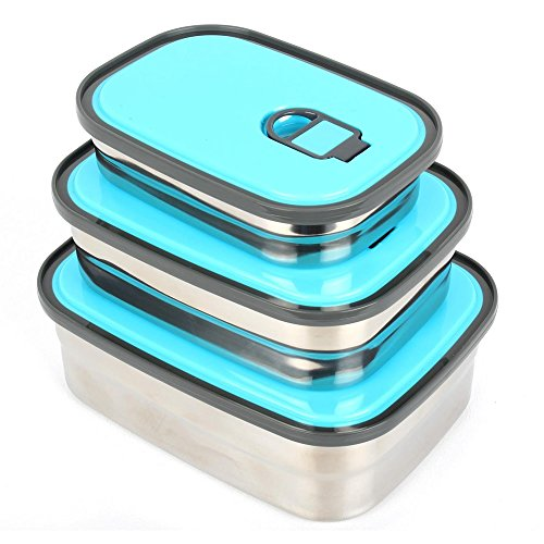 YiShine Stainless Steel Bento Lunch Box Food Container Storage for Adults or Kids, Students, Set of 3, Leak Proof Air Tight Lids, Dishwasher Safe, Durable Sandwich Box - ()