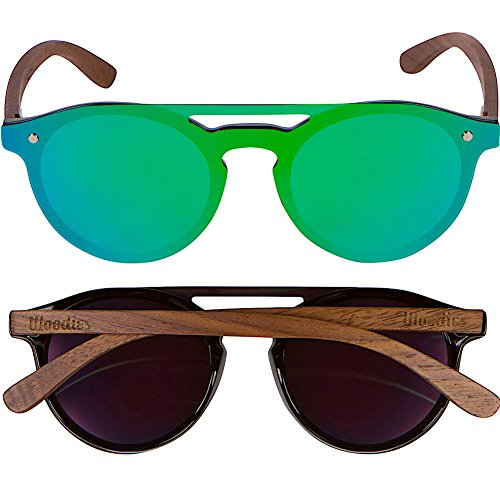 a2de51fb333 WOODIES Walnut Wood Aviator Style Sunglasses with Flat Mirror Polarized Lens