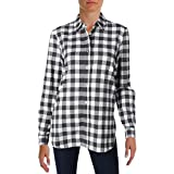 Jenni Kayne Womens Boyfriend Shirt Flannel Side Slit Button-Down Top B/W S