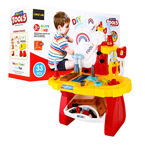 DIY Construction Toolbox Workbench Play Set with 33 Pieces Only $6.99 (Was $19.99)