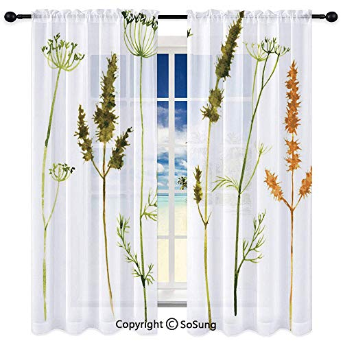 3D Painting Room Unlined Window Curtains,Wild Flowers Herbs and Twigs Wilderness Untamed Plants Ecological Art Decorative 35