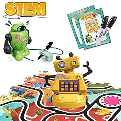 GILOBABY Magic Inductive Robot Toy Follow Black Line Mini Drawbot with LED Light Educational STEM Toys 70 Pcs Puzzle for Kids Age 3+ (2 Robots)