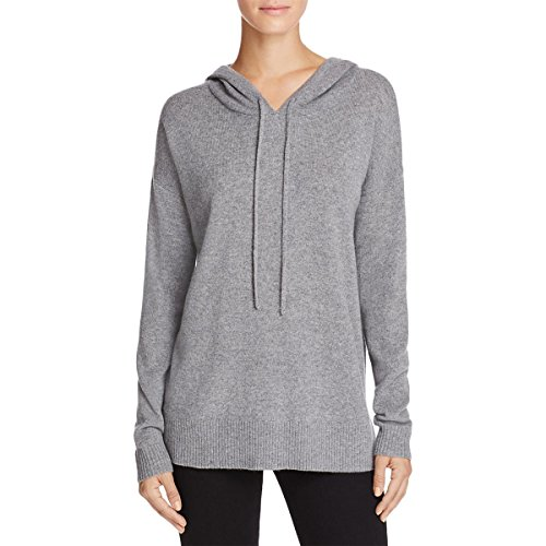 Private Label Womens Cashmere Knit Hooded Sweater Gray L
