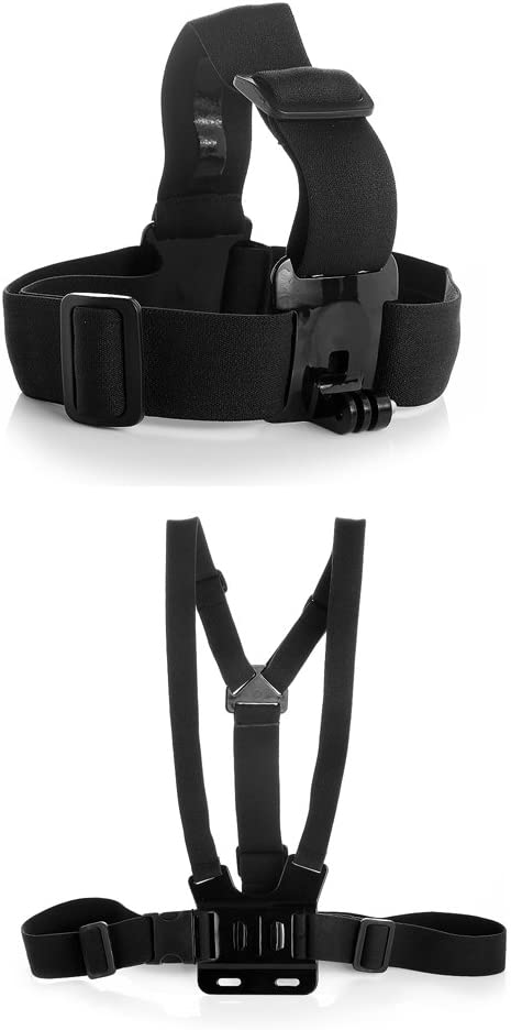 Head Harness Strap Mount with Chest Mount Belt Strap for Gopro Hero Hero4 Hero3 Hero3 Hero2 Hero1 and Sjcam Cameras Adjustable Head and Chest Strap
