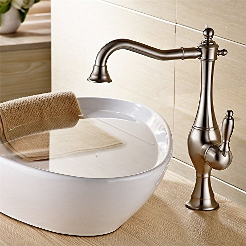 Gyps Faucet Basin Mixer Tap Waterfall Faucet Antique Bathroom The copper-nickel brushed bathroom 360° swivel base pan high, cold water faucet,Modern Bath Mixer Tap Bathroom Tub Lever - Nickel Fixture Gravity