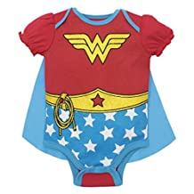 Wonder Woman Baby Girls' Costume Onesie with Cape, Red