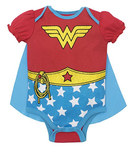 Wonder Woman Baby Girls' Costume Onesie with Cape, Red (6-12 (Baby Onesie Costumes)
