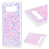 MOLLYCOOCLE Galaxy Note 8 Case,Transparent Clear Full Body Bling Glitter Soft Flexible TPU Frame Hard Glitter Back Protective Case Cover for Samsung Galaxy Note 8 with Owl- Pink
