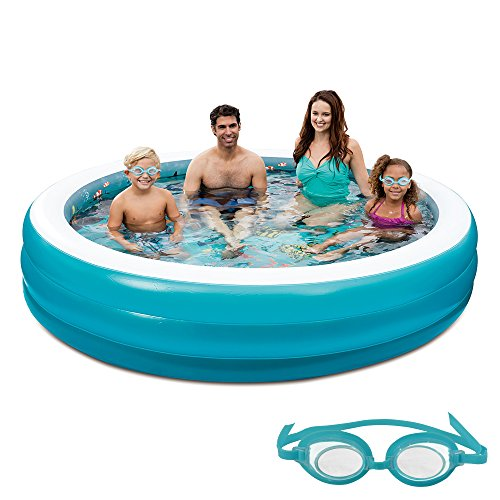 Blue Wave 3D Inflatable Round Family Pool, 7.5'