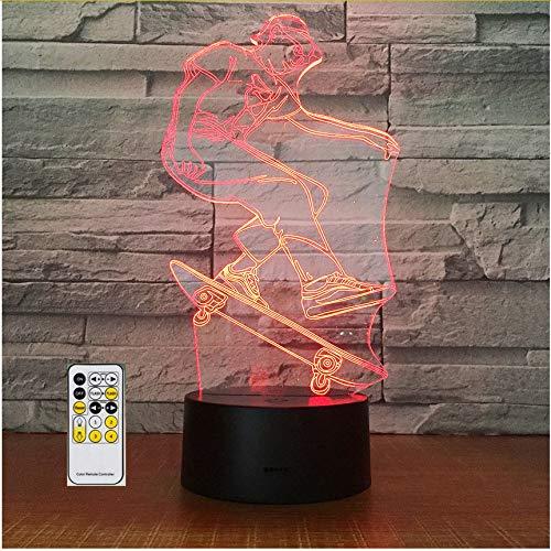 Craze Skateboarding 3D Led Acrylic Night Lamp Office Bar Bedroom Mood Lighting 7 Colors Change Illusion Kids Gift Home Decor,Sykdybz]()
