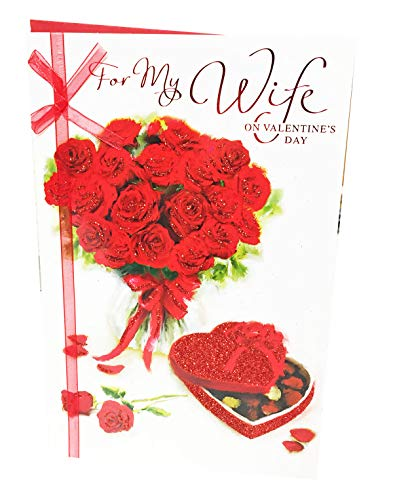 Wife Valentines Day Card Greeting for Her Traditional Design Gift Present Vintage One I Love