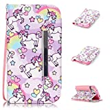Galaxy S4 Case,S4 Wallet Case,Kmety(TM) for Samsung Galaxy S4 PU Leather 2in1 Case Flip Folio Magnetic Design[Built-in Credit Card Slots] with Painted Unicorn Pattern
