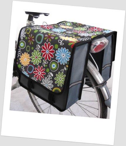 T-JOY-13 Fahrradtasche JOY Flower purple lila Kinderfahrradtasche Satteltasche Gepäckträgertasche 2 x 5 Liter KINDER