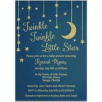 Amazon Com Twinkle Little Star Baby Shower Invitations Boys