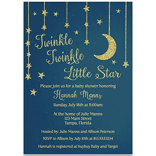 Baby Shower Invitation, Stars and Moon Baby Shower Invite, Blue, Gold, Unisex, Stars, Moon, Baby Shower, Twinkle Twinkle Little Star Shower Invite, 10 Custom Printed Invites with Envelopes]()