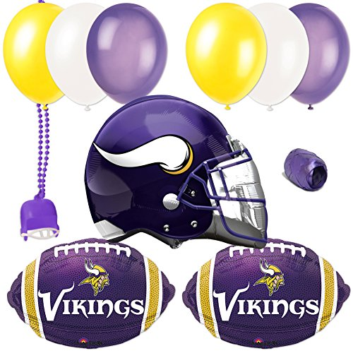 Minnesota Vikings Helmet Football Party 11pc Balloon Pack, Purple Yellow White (Minnesota Vikings Party Pack)