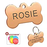 Didog Colorful Stainless Steel Custom Pet Dog ID Tags,Bone Shaped,Personalized Engraving,Rose Gold,S Size