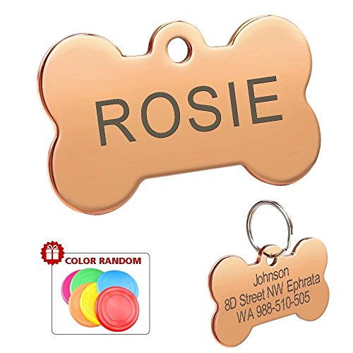 Didog Colorful Stainless Steel Custom Pet Dog ID Tags,Bone Shaped,Personalized Engraving,Rose Gold,S Size (Dog Rose Tag)
