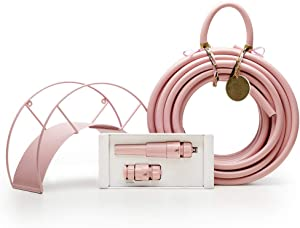 Pink Garden Hose and Hose Holder Kit - Rusty Rose - Exclusive Designed Pink Water Hose & Wall Mounted Hose Stand and Nozzle (Multiple Colors Available)