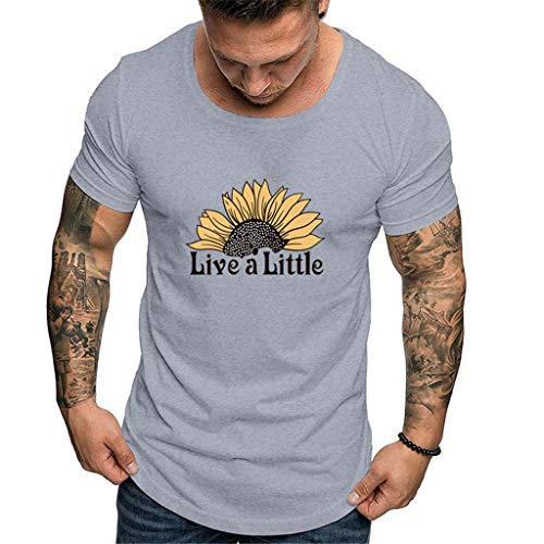 Mote Mens Clothes, MmNote Round Neck Sun Flower Text Print Modern Fit Quick-Dry Short Sleeve Gray