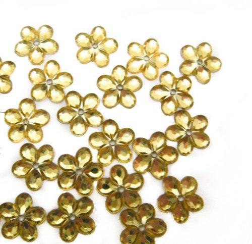 Nakpunar 100 pcs Yellow 5 Petal Sew On Rhinestone - 12 mm (1/2