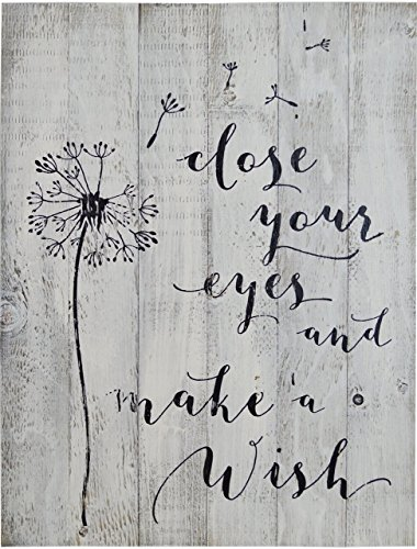 Wood Sign Vintage Planked - DANDELION- CLOSE YOUR EYES AND MAKE A WISH -RUSTIC WHITE BARN WOOD SIGN 18