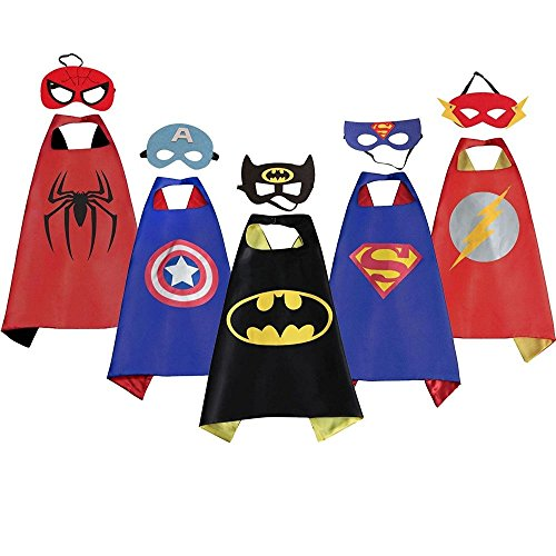 LansKids Comics Cartoon Heros Dress Up Costumes 5 Satin Capes with Felt Masks (Easy Comic Costumes)