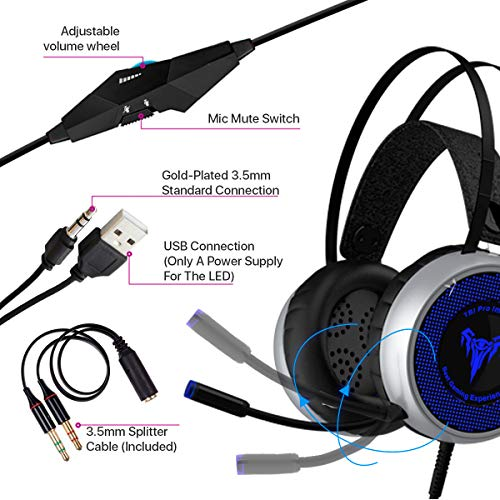 [Newest 2019] Gaming Headset for Xbox One, S, PS4, PC with LED Soft Breathing Earmuffs, Adjustable Microphone, Comfortable Mute & Volume Control, 3.5mm Adapter for Laptop, PS3, Nintendo by TBI Pro (Image #6)'