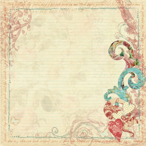 Art Stitched Mulberry Paper - Prima 813260 12 by 12-Inch Art Stitched Mulberry Paper, Scrolls and Hearts