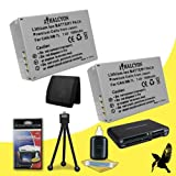 Two Halcyon 1600 mAH Lithium Ion Replacement NB-7L Battery + Memory Card Wallet + SDHC Card USB Reader + Deluxe Starter Kit for Canon PowerShot SX30 IS 14.1 MP Digital Camera and Canon NB-7L