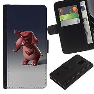 KingStore / Leather Etui en cuir / Samsung Galaxy S5 Mini, SM-G800 / 3D de dibujos animados divertido;