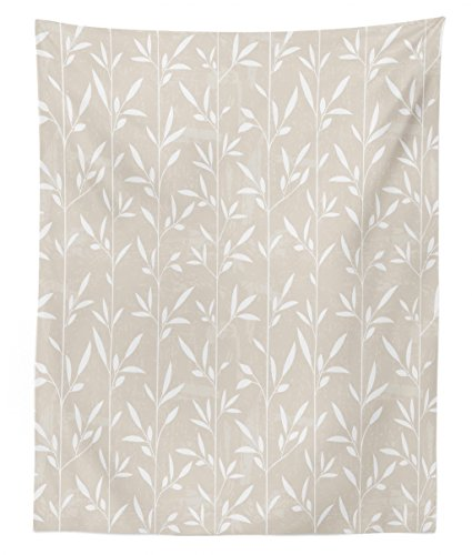 Cream Vertical Stripe - Lunarable Cream Tapestry Twin Size, Vertical Stripes Stems Leaves Pattern Grunge Display Classical Spring Inspired, Wall Hanging Bedspread Bed Cover Wall Decor, 68 W X 88 L inches, Pale Tan White