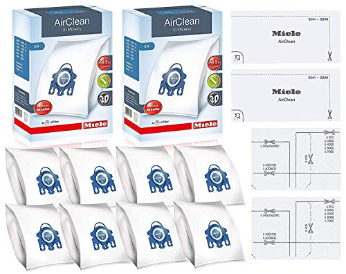 Miele GN AirClean 3D Efficiency Vacuum Cleaner Bags - 2 Boxes - Includes 8 Genuine Airclean GN Bags + 2 Genuine Super Air Clean Filter + 2 Genuine Pre-Motor Protection Filters