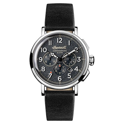 Ingersoll Men's Quartz Stainless Steel and Leather Casual Watch, Color:Black (Model: I01701)