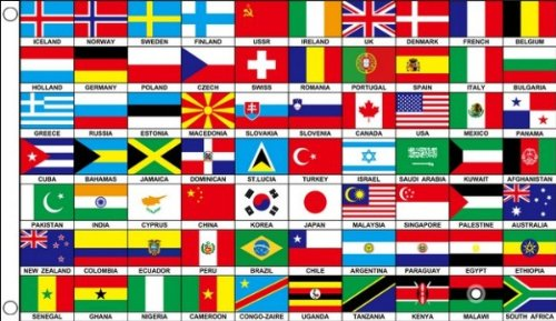 AZ FLAG 70 World Nations Flag 3' x 5' - Seventy Countries Flags 90 x 150 cm - Banner 3x5 ft