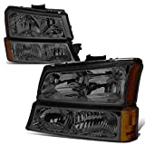For 03-06 Chevy Silverado/Avalanche 4-PC Smoke Lens Amber Corner Headlights/Lamps - Pair
