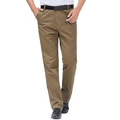 44773d9f08de7 OEAK Pantalon Homme de Travail Chino Casual Business Stretch Slim Fit Large  Coupe Droite Taille Haute