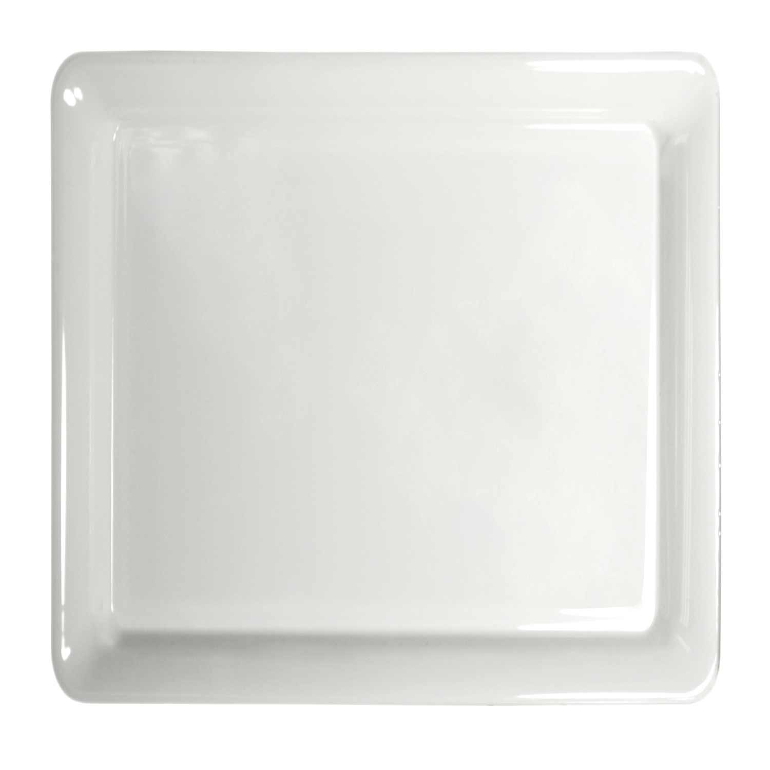 Party Essentials N161604 Heavy Duty Plastic Square Tray, 16'' Length x 16'' Width, White (Case of 6)