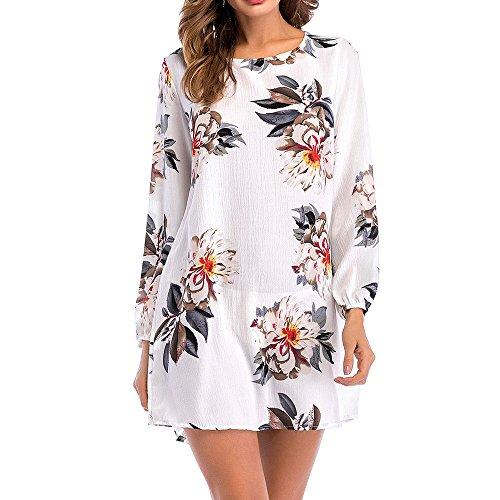 (Toimothcn Mini Floral Dresses, Womens Casual Long Sleeve Floral Print Knee Length Dresses(White,XXXL))