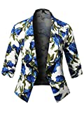 Stretch Design Printed 3/4 Shirring Sleeve Open Blazer [1XL-3XL] Ivory Blue 3XL