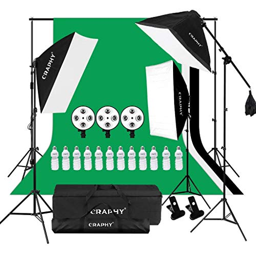 CRAPHY 2000W Photography Studio 4-Socket Softbox Continuous Lighting Kit with Backdrop Stand, 100% Thick Muslin Background (Green,White,Black),45w Lamp,Light Stand,Holder Kit and Portable Bag for Port