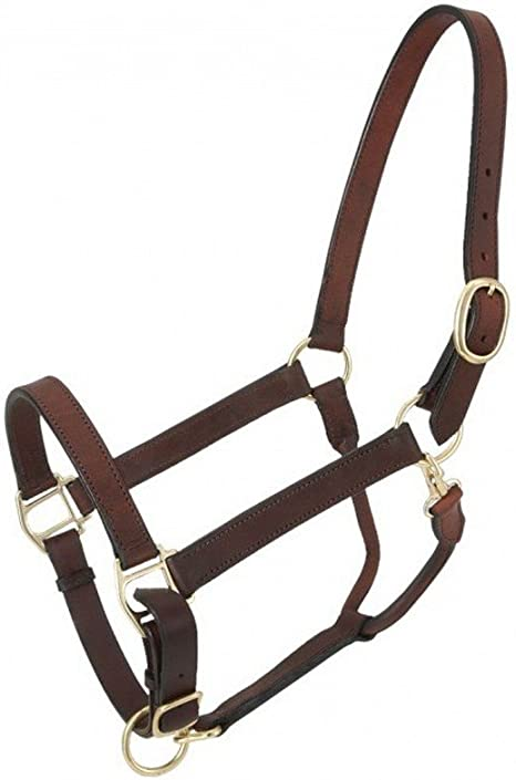 Tough1 Leather Adj Stable Halter w//Snap
