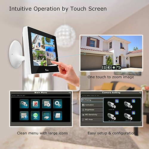 (TOUCH SCREEN)Wireless Camera System Home Security Camera Set(720p)Two Wi-Fi Video Surveillance Cams Real-Time Touchscreen Monitor|Motion Detection,Night Vision|Indoor/Outdoor|Phone Remote/500G HDD