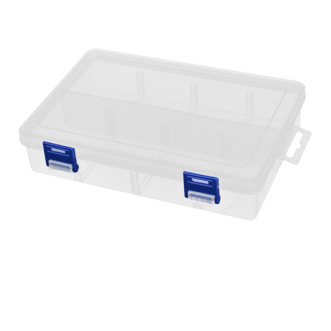 uxcell 200mmx140mmx45mm 8 Slots Component Storage Organizer Case DIY Tool Clear