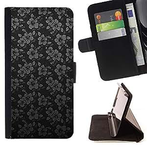 For Samsung ALPHA G850 Case , Negro de plata minimalistas Flores- la tarjeta de Crédito Slots PU Funda de cuero Monedero caso cubierta de piel
